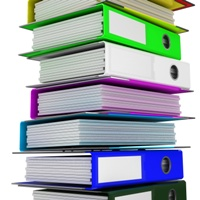 Colored binders to help organize paper